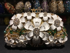 Enamel White Flower Luxury Crystal Evening Clutches IF-AN2261