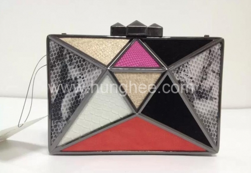 Gun-Metal Plating Metal Frame Metallic Evening Clutch Bags HH-MT1570