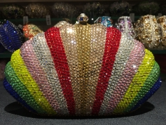 Rainbow Color Shell Shaped Hot Selling Fashion Crystal Evening Bags Wholesale IF-CE21719