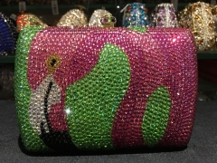 Flamingo Pattern Factory Wholesale Luxury Crystal Evening Bags China IF-CE21718