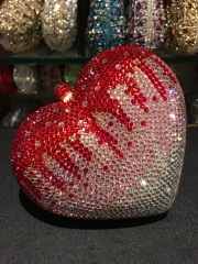 Wholesale Fully Red and Silver Luxury Heart Shaped Crystal Evening Bag IF-CE25218