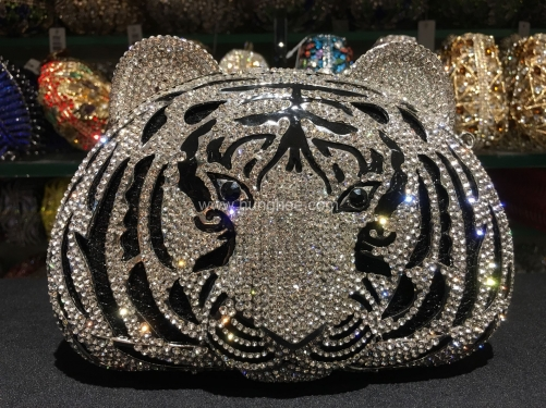 Hollow Out Metal Diamond Silver Tiger Face Crystal Jewelled Evening Bags IF-AN22612