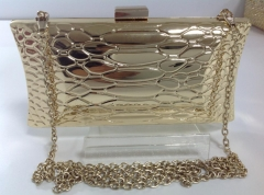 Full Metal Shell Gold Metallic Evening Bag HH-MT9214