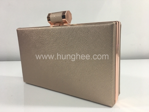 Fashion Ladies Clutch Purses Champagne Metallic PU Leather Evening Bag Wholesale HH-PU83300