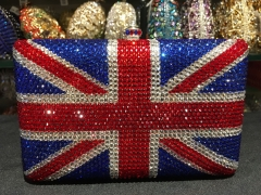 UK Flag Pattern Fashion Handmade Luxury Crystal Clutch Bags IF-CE21716