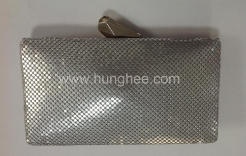 Metallic Box Clutches Minaudiere Silver Metal Mesh Evening Bags HH-MT5012