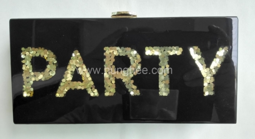 Modern Design Quality Solid Black Base with Gold Confetti PARTY Acrylic Box Clutch Bags HH-AC85538