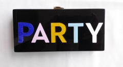 Solid Black Acrylic Base with Multi-color Words of PARTY acrylic box evening bag HH-AC85718