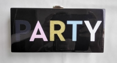Black Acrylic Base with Multi-color Letters PARTY Evening Clutches Acrylic Clutch Bags HH-AC91324