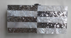 GEO White Acrylic Pearl and Silver Confetti Evening Clutches Acrylic Clutch Bag HH-AC91139