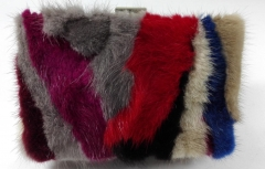 Multi-color Rabbit Fur Hard Case Evening Bags with Metal Frame HH-FUR72757