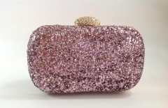 Pink Glitter Hard Case Evening Clutch Bags with Crystal Closure HH-GLT1200