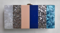 Ladies Multi-color Acrylic Splice Plate Hard Case Acrylic Clutch Evening Clutches Bag HH-AC90726