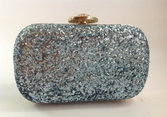 Light-Blue Glitter Fabric with Metal Frame and Crystal Closure Evening Purses HH-GLT1216