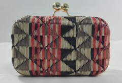 Geometric Patterns Woven Fabric Box Clutch Evening Bags with Classic Kiss-lock Clasp HH-HD12558