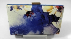 Printed Chinese Watercolor Pattern Gold Metal Frame Hard Case Clutches HH-HD42330