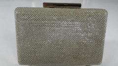 Smooth Glitter Fabric Gold Hard Case Evening Clutch HH-GLT11918