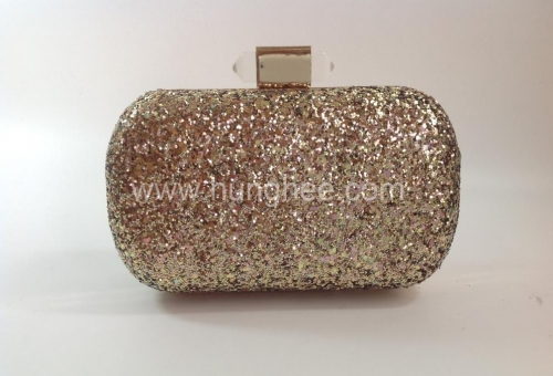 Gold Glitter Evening Bags and Clutches with Clear Resin Clasp HH-GLT1208