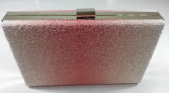 White and Pink Glitter Hard Case Evening Bags and Clutches Party Purse with Metal Frame HH-GLT13142