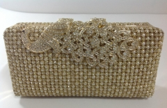 Gold Crystals Pearls Mesh Crystal Evening Bags with Peacock Crystal Clasp HHJ-1029