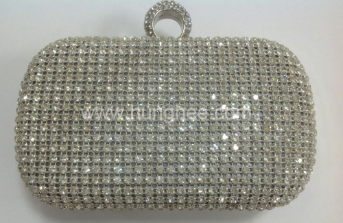 Bridal Purses White Crystal Mesh Clutch with One-ring Rhinestones Closure HHJ_484