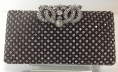 Wedding Rhinestone Clutch Bag White and Black Mix Crystal Evening Purses with Crown Closure HHJ-1020