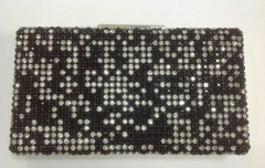 Mix White and Black Crystal Mesh Handmade Crystal Evening Clutch Purse HHJ_487