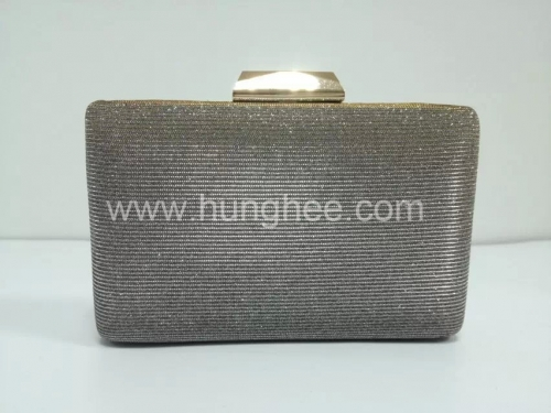 Gold Glitter Hard Case Evening Clutch Bags with Gold Tone Metal Frame HH-GLT1336