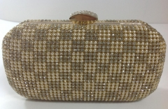 Vintage Wedding Party Crystal Pearls Gold Mesh Clutch Bag Crystal Evening Purse HHJ-1013