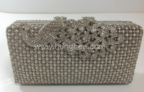 Silver Crystals Pearls Mesh Crystal Evening Bags Wholesale with Peacock Crystal Clasp HHJ-1030