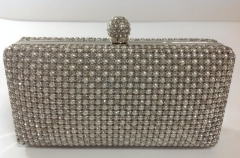 White Crystals and Pearl Mesh Crystal Evening Party Clutch Bag with Crystal Closure HHJ-999