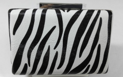 Zebra Pattern Beautiful Handmade Black White PU Leather Party Evening Bag HH-PU72517