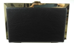 Gold Metal Frame Party Clutches Black PU Leather Evening Bags HH-PU63515