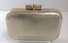 Unique Metal Frame Gold PU Leather Evening Clutch Bag HH-PU1755