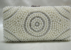 Fashion Women Clutches White Pearls and Rhinestones Evening Bags Beaded Clutch Bridal Handbags HH-BE1390