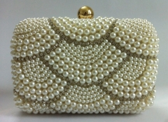 Designer White Pearls and Rhinestones Beaded Clutch Bag with Ball Closure HH-BE1376