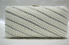 Fashionable Lady's White Pearls and Rhinestones Clutch Purses Beaded Clutch Bags HH-BE1389