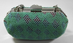 Two Green Colors Beads Heavy Embellished Beaded Box Clutches with Rhodium Metal Frame HH-BE12640