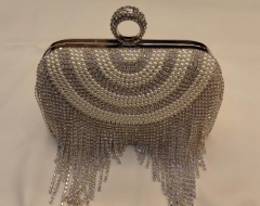 Shinny Mini Party Clutch White Pearls and Silver Rhinestons beaded clutch evening bag HH-BE13530