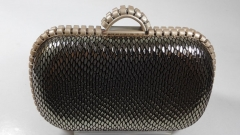 High-grade Real Leather Python Pattern Hard Case Evening Clutch Bags with Alloy Frame HH-RL24227