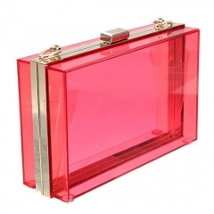 Yellow Transparent Acrylic Clutch Bag Womens Evening Purse with Metal Frame HH-AC0931
