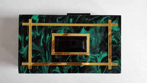 Customized Resin Box Party Bags Black and Green Marble Acrylic Box Clutch HH-AC1731