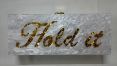 Personalized White Pearl and Gold Confetti Acrylic Purses Acrylic Marble Evening Bags HH-AC1654
