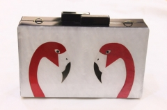 Flamingo Pattern Pearl Acrylic Clutch Box Evening Clutches Lucite Clutch Bags HH-AC1613