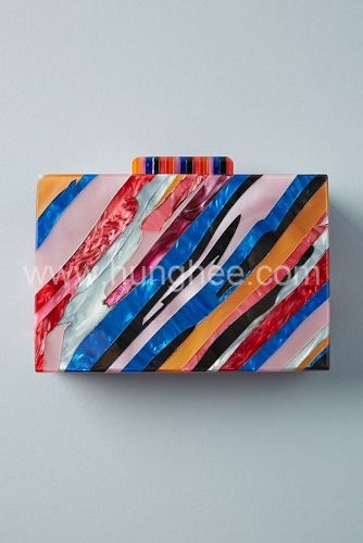 Sunset Lucite Clutch for Party Prom Acrylic Box Handbag Hard Case Acrylic Evening Bag HH-AC85437