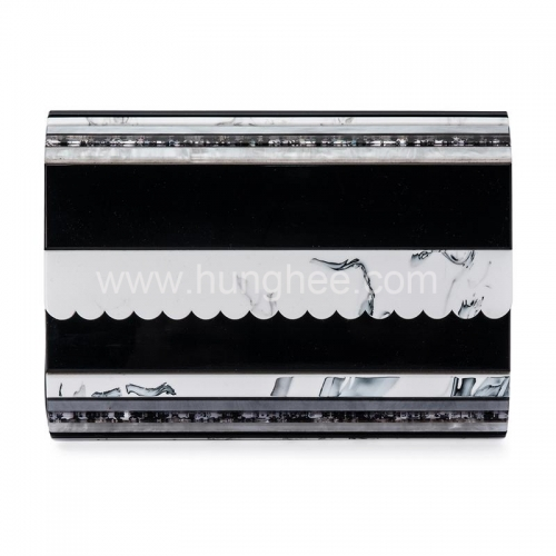 Black Personalize Acrylic Clutch Flap Over Stripe Acrylic Clutch Handbags HH-AC88218
