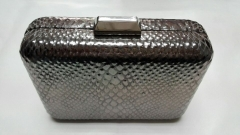 100% Handmade Metal Case Silver Python Metallic PU Leather Evening Purse HH-PU5004