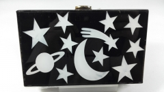 Stars and Moon Solid Acrylic Clutch Bag Perspex Box Handbags Lucite Clutch Purse HH-AC1632
