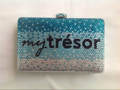 Personalized Logo Gradient Luxury Full Diamond Crystal Evening Bags IF-CE2118