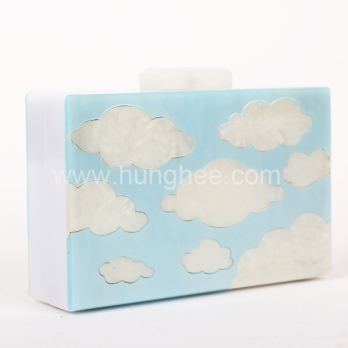 Blue and White Pearl Acrylic Clutch Evening Box Clutches Lucite Clutch Bags HH-AC1591